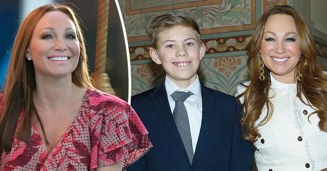 Charlotte Perrelli tillsammans med sonen Alessio
