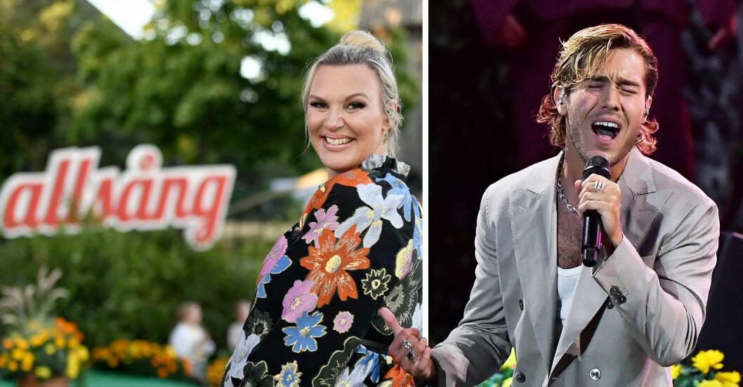 Allsång på Skansen, bilden till vänster Sanna Nielsen. Bilden till höger Benjamin Ingrosso.