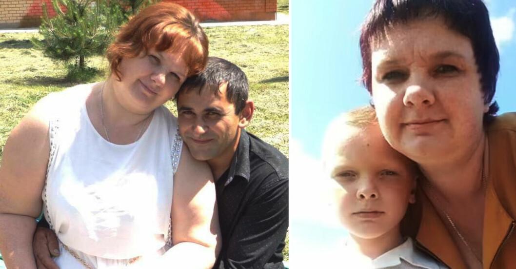 Bilden visar Anastasia Baulina och maken Pavel samt sonen Andrey.