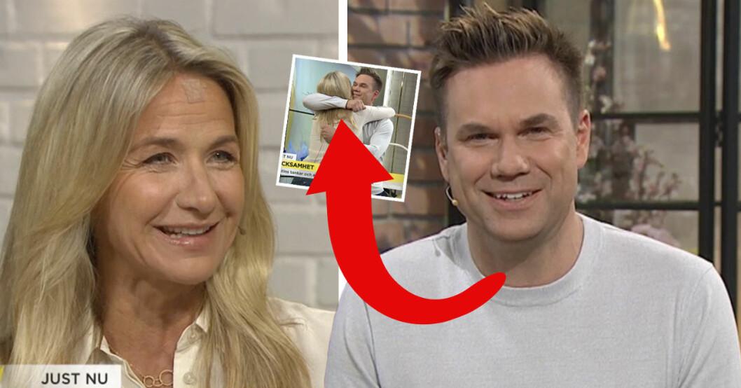 Anders Pihlblads kärleksfulla gest till Kristin Kaspersen i Nyhetsmorgon på TV4.