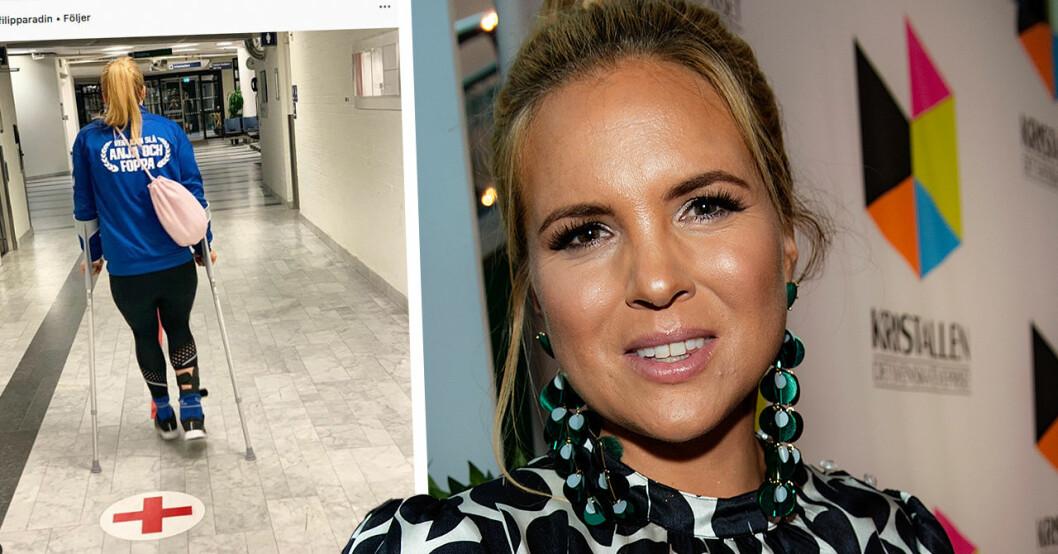 Anja Pärsson till akuten efter tv-inspelningen