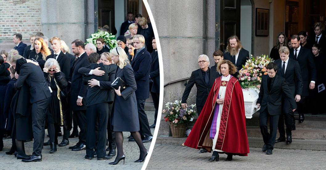 Ofattbara ögonblicket utanför kyrkan när Ari Behns kista bars ut