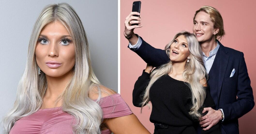 Arvid Stenbäcken och Bella Andersson tar en selfie med rosa bakgrund