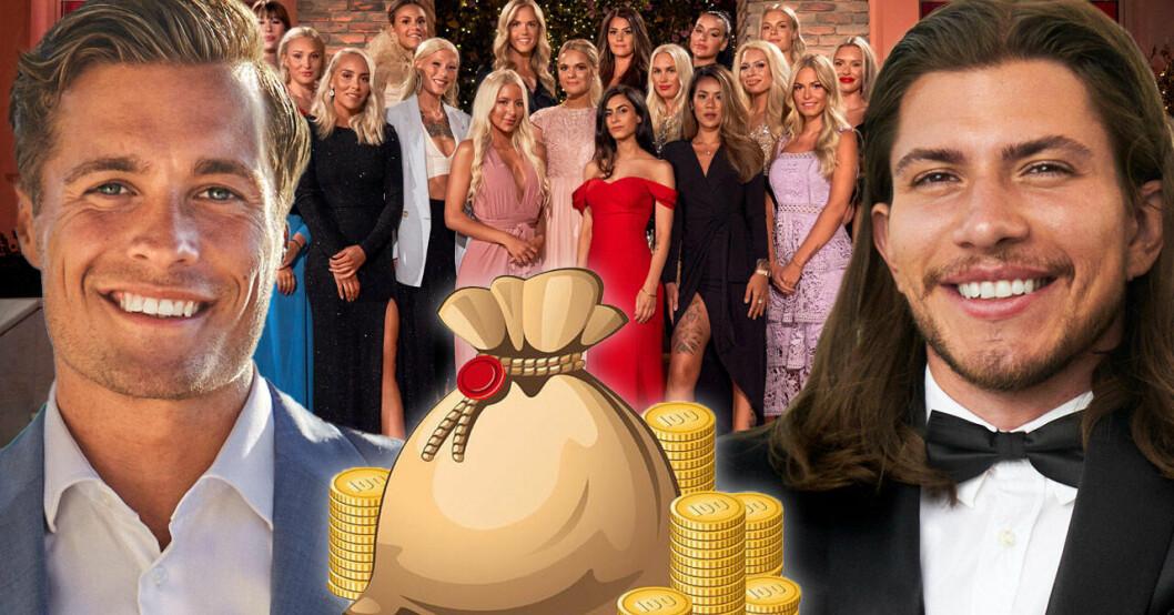 Simon Lindström, Sebastian Martinsson och tjejerna i Bachelor 2021.