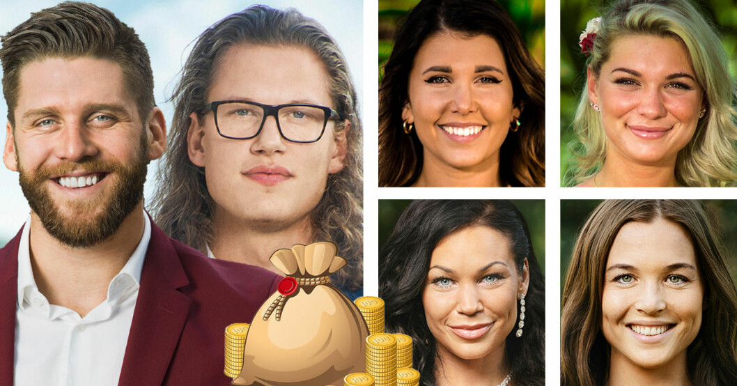 Simon Hermansson, Felix Almsved, Lisa Englund, Patricia Hanjikova, Isabella Larka och Linn Helenesdotter i Bachelor 2019.