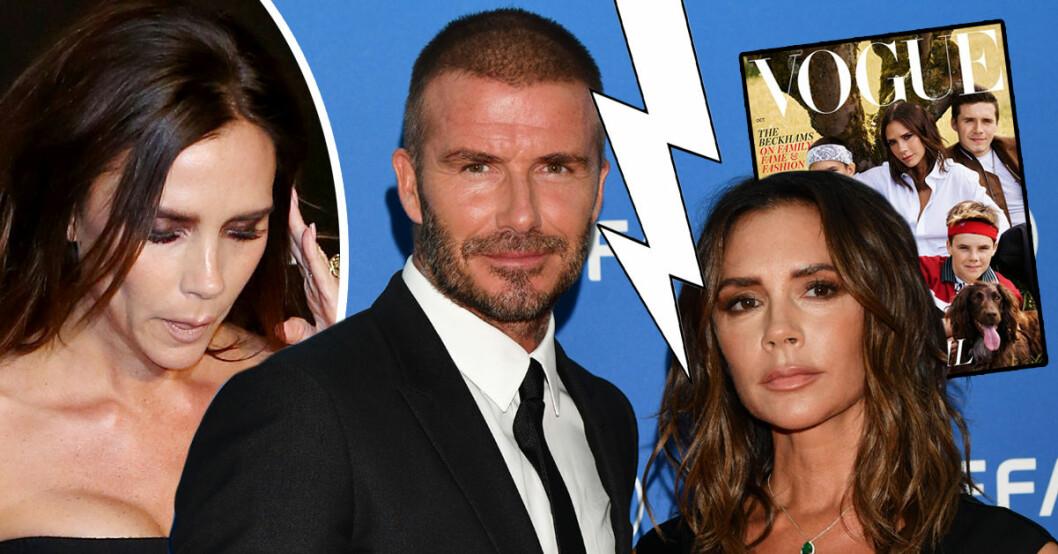 Victoria Beckham poserar själv med barnen på Vogues omslag vilket får alla att spekulera i om äktenskapet med David Beckham är över.