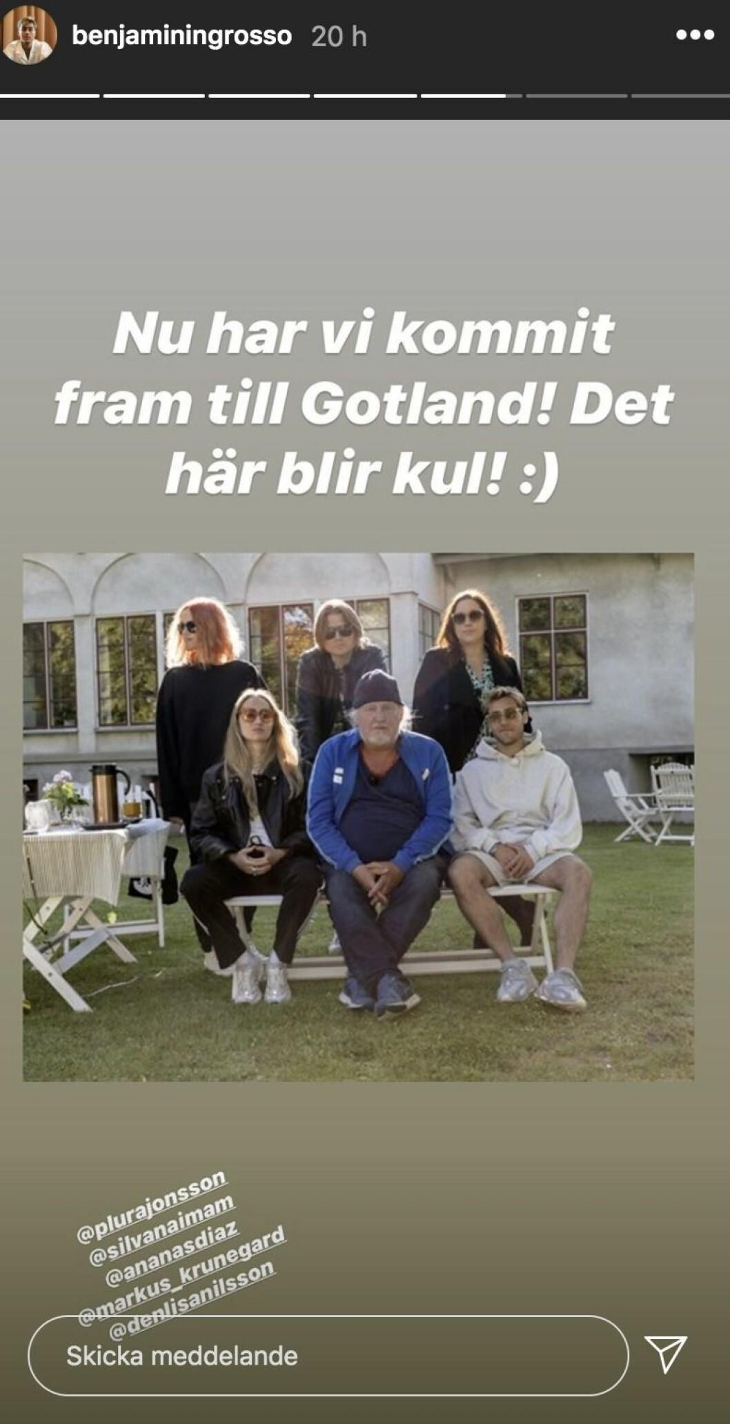 Benjamin Ingrosso på Gotland och spelar in Så mycket bättre 2020