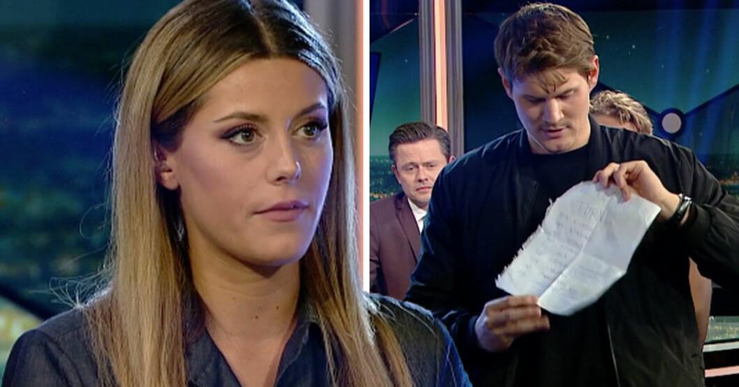 Bianca Ingrosso och Johan Gunterberg i Breaking news på Kanal 5.