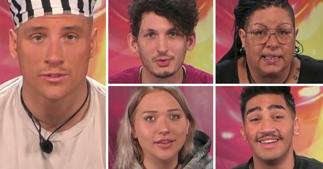 Adrian Podde, Pontus Andersen, Stephanie Harvey, Katti Göranssob och Joel Kosari i Big Brother 2021.