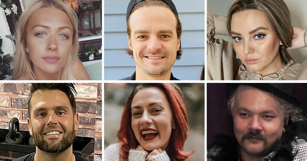 Jasmine Armstrong, Martin Forstén, Amilia Stapelfeldt, Lennie Hansson, Julia Löfgren och Sami Jakobsson i Big Brother 2020.