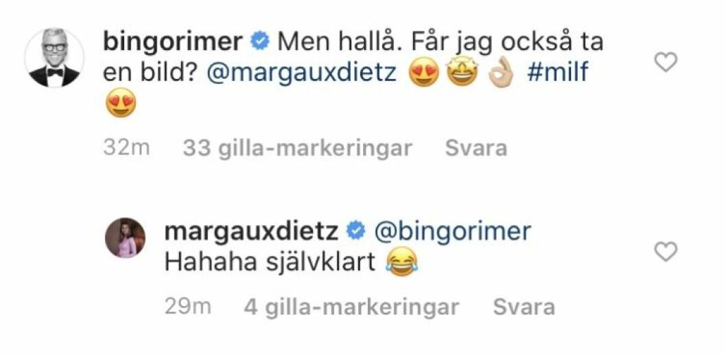 Kommentarer mellan Bingo Rimér och Margaux