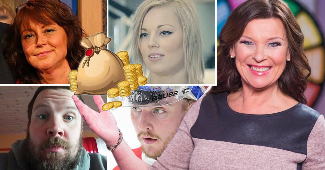 Bingolottos programledare Lotta Engberg och några av miljonvinnarna.