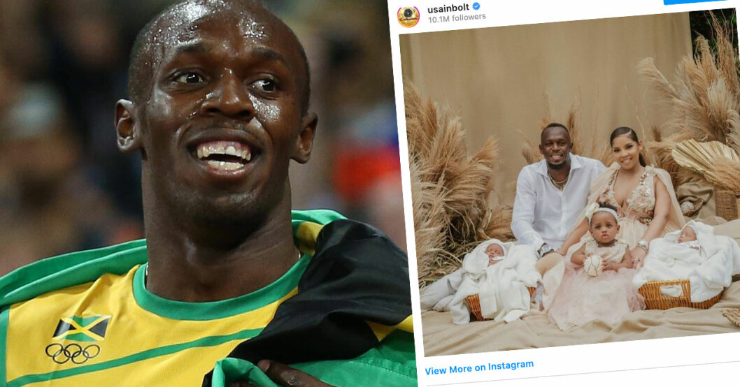 Usain Bolt visar upp hemliga tvillingarna