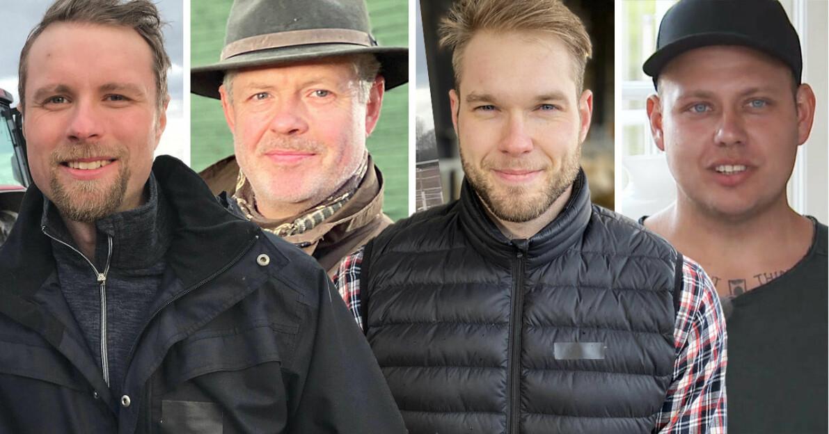 Pontus Mikaelsson, Mats Thomsson, Erik Parai Arnesson och Parik Fernlund i Bonde söker fru 2020.