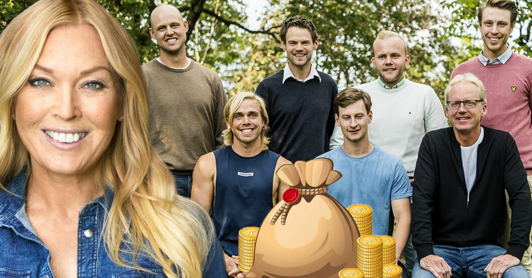 Linda Lindorff och bönderna Jimmy Olofsson, Alexander Andersson, André Petersson, Pelle Hansson Ed, Mattias Karlsson, Oscar Fjärrstrand och Ulf Lindkvist i Bonde söker fru 2019.