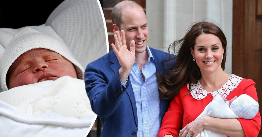 Prins William och Kate Middleton med deras nyfödde son, prins Louis.
