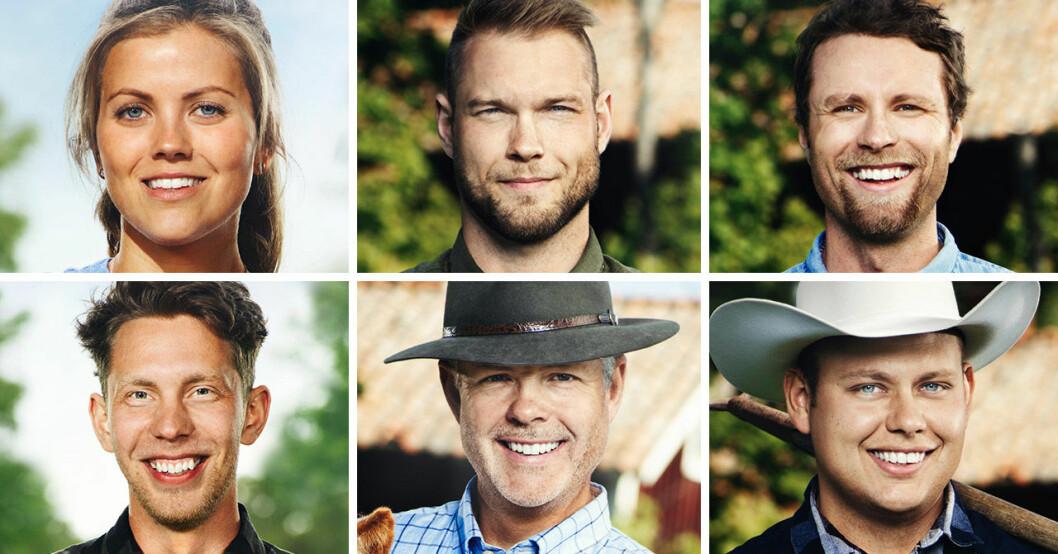 Linn Regild, Erik Parai Arnesson, Pontus Mikaelsson, Erik Bolang, Mats Thomsson och Patrik Fernlund i Bonde söker fru 2020.