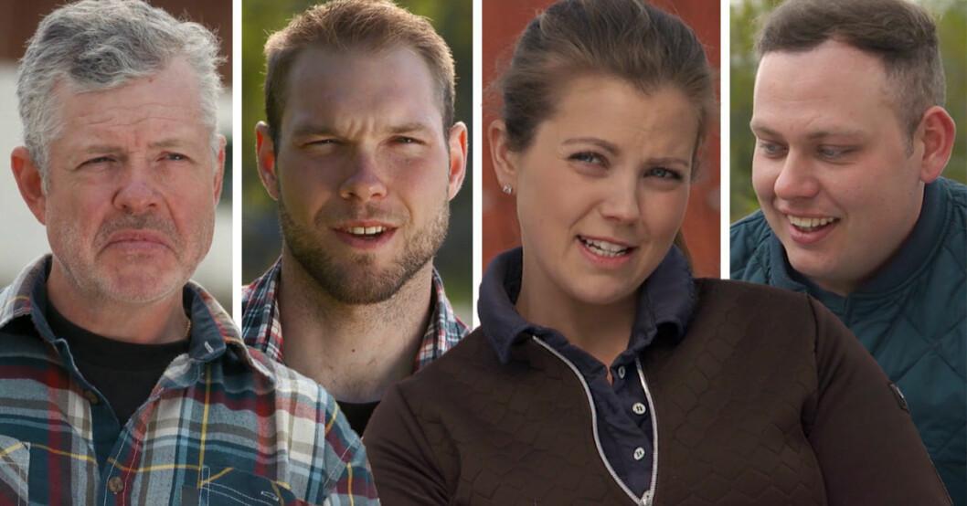 Mats Thomsson, Erik Parai Arnesson, Linn Regild och Patrik Fernlund i Bonde söker fru 2020.