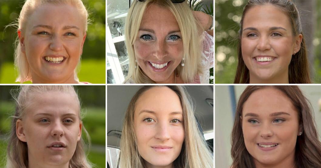 Josefin Bertelsen, Susanne Bostrand, Sanna Ahnstedt Svensson, Klara Bohrén, Madeleine Sundin och Wilma Karlsson i Bonde söker fru 2019.