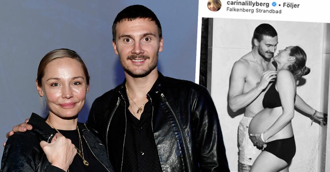 Här avslöjar Carina Berg könet på sin och Eriks bebis
