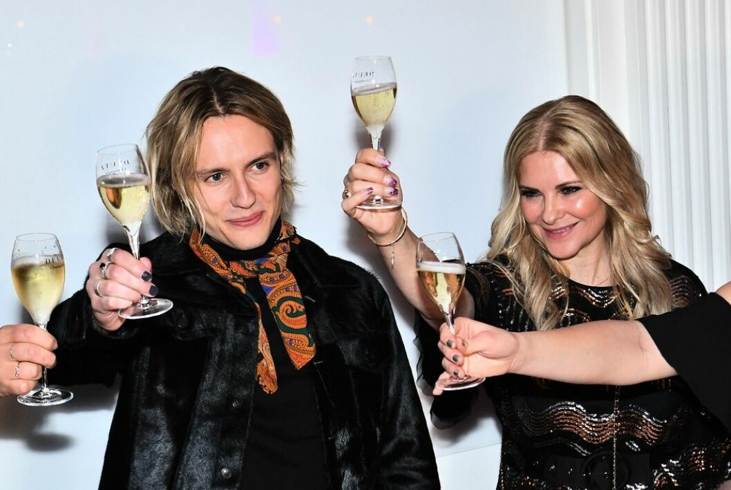 Oscar Enestad med flickvännen Cecilia vid efterfesten på Elite Savoy Hotel efter Melodifestivalen deltävling två i Malmö Arena 2019