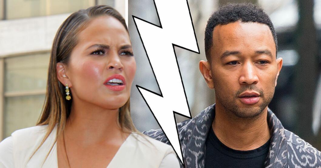 Chrissy Teigen är rasande på maken John Legend efter att han lämnat henne ensam med nyfödda sonen Miles för att sjunga på Billboard Awards.