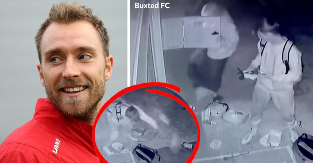 Den danske fotbollsspelaren Christian Eriksen segnade ner på planen i matchen mot Finland. Timmar senare sågs två personer vandalisera en hjärtstartare.