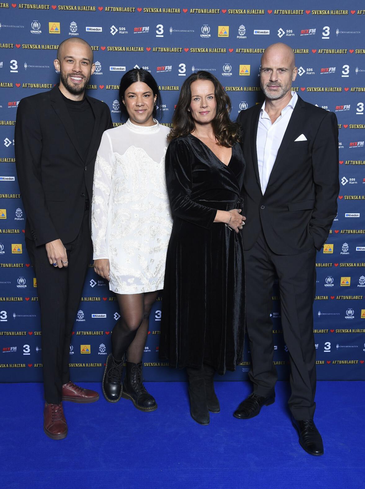 Christopher Taylor, Love Taylor, Malin Berghagen och Martin Charlton på Svenska hjältar-galan 2019.