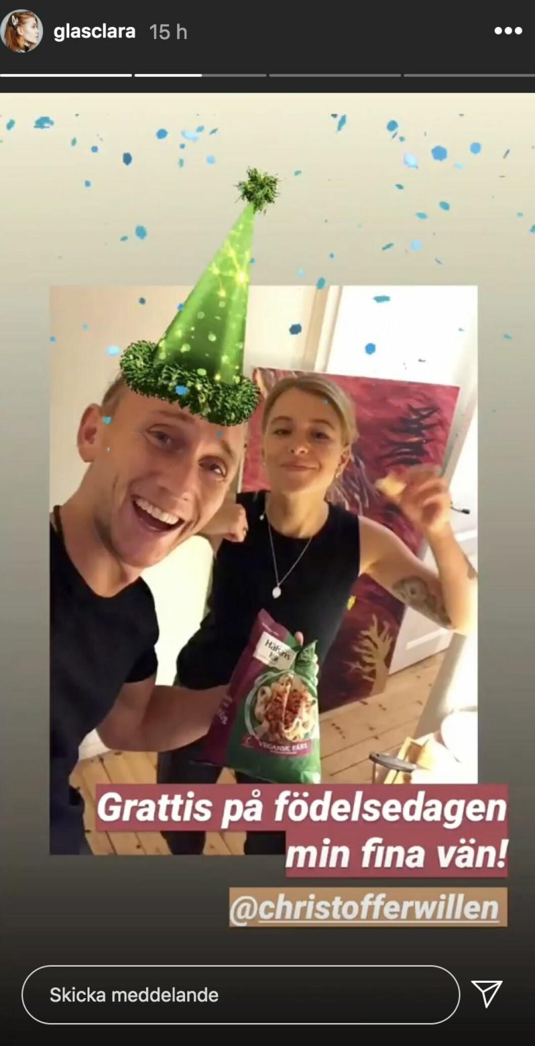 Clara Henry och Christoffer Willén på Instagram