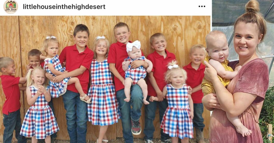 Mamman Courtney Rogers har 11 barn och är redan gravid med sitt tolfte.