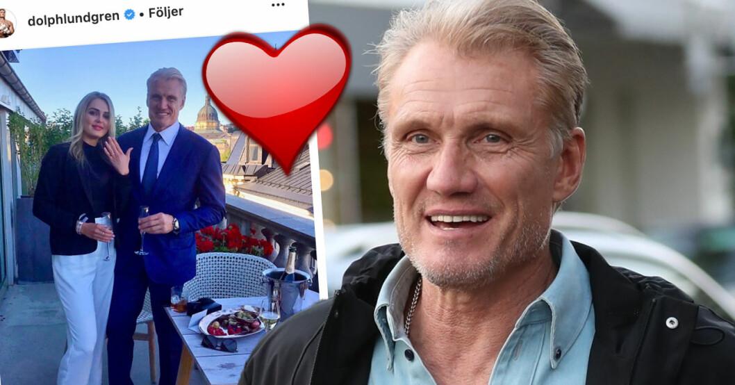 Dolph Lundgrens stora lycka med yngre kärleken Emma Krokdal