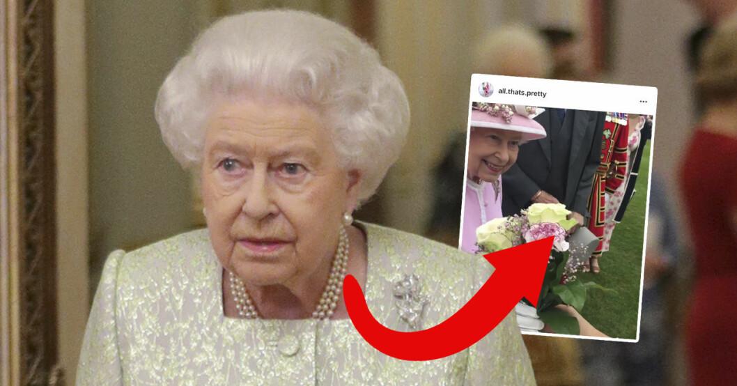 Här bryter drottning Elizabeth kungliga protokollet.