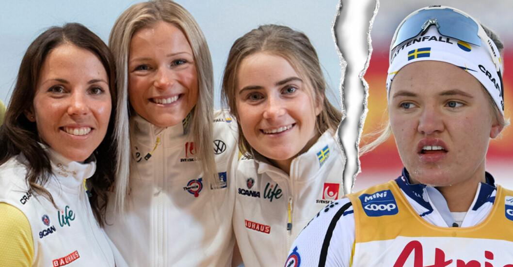 Bilden visar Charlotte Kalla, Frida Karlsson, Ebba Andersson och Linn Svahn.