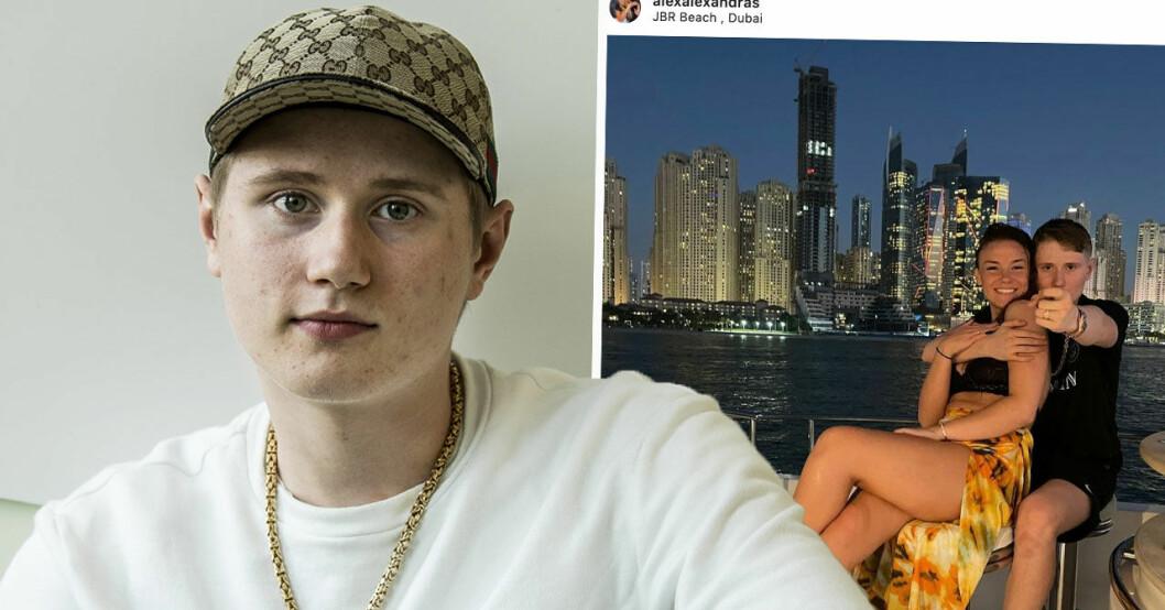 Artisten Einár med sin flickvän Alexandra Torgrip på semester i Dubai