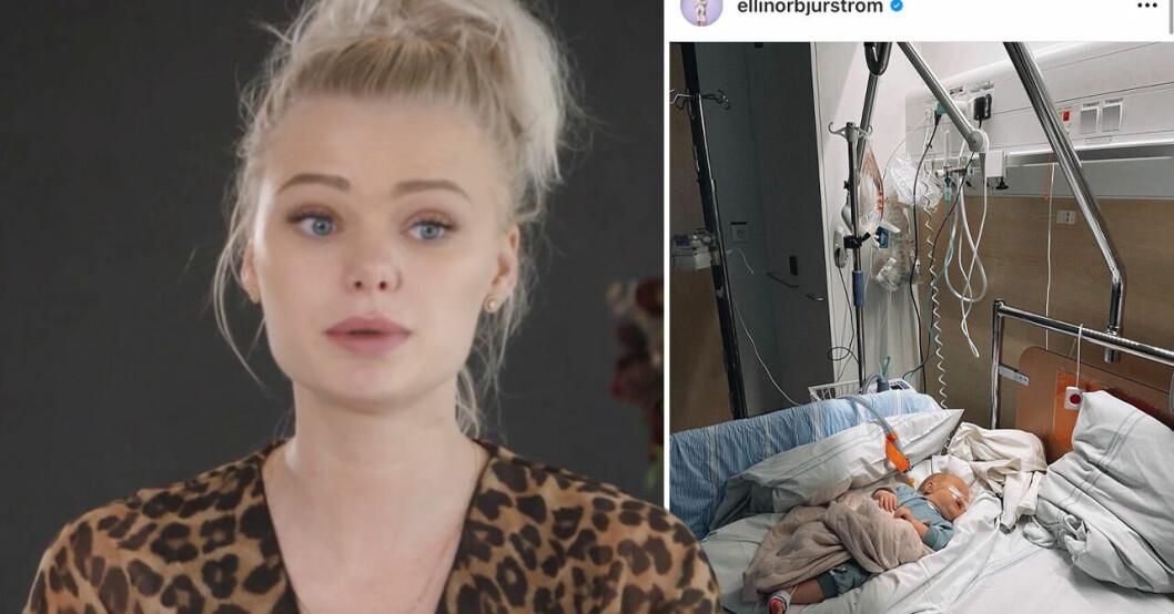 Ellinor Bjurström till sjukhuset med dottern Novali
