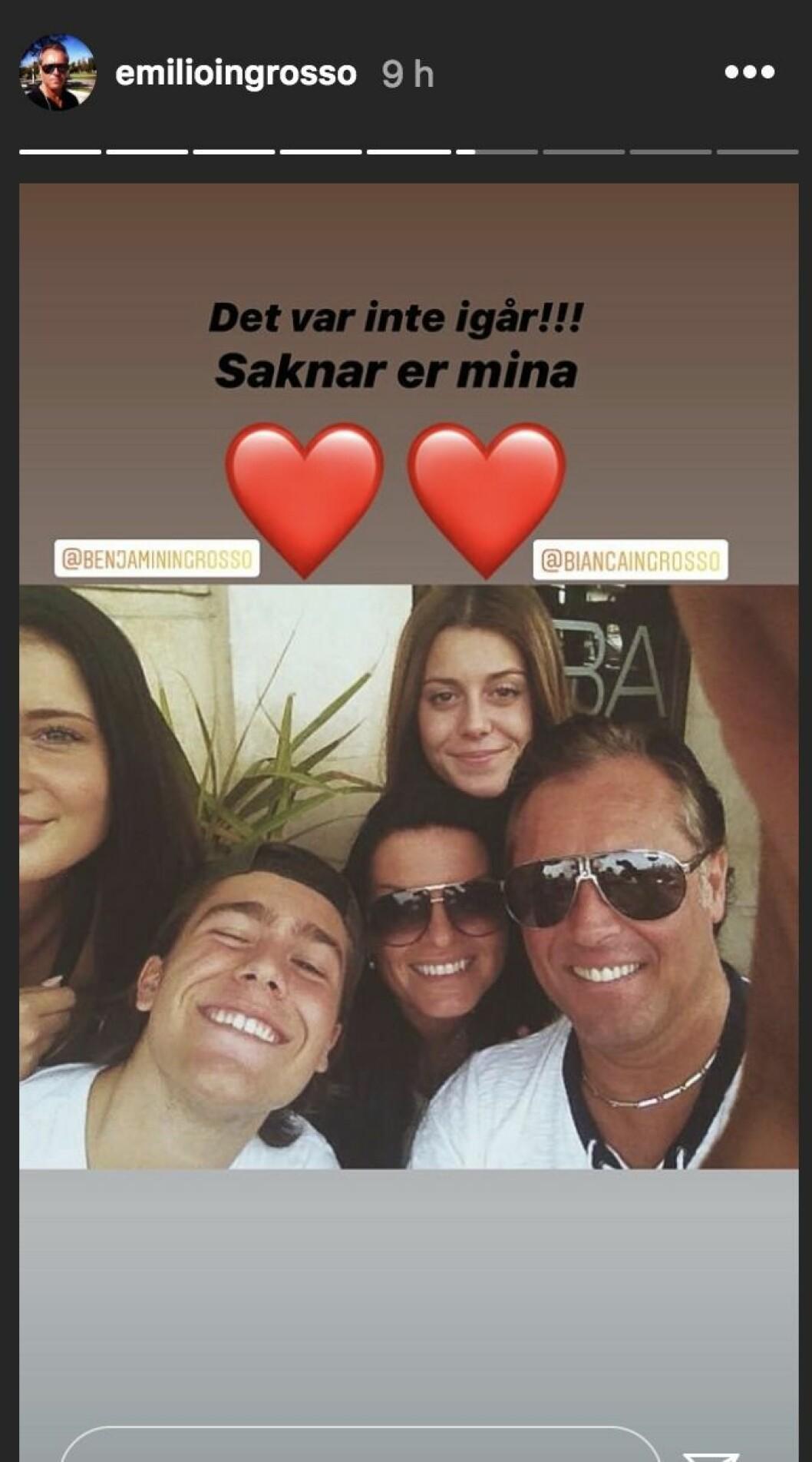 Emilio Ingrosso saknar sina barn Bianca och Benjamin