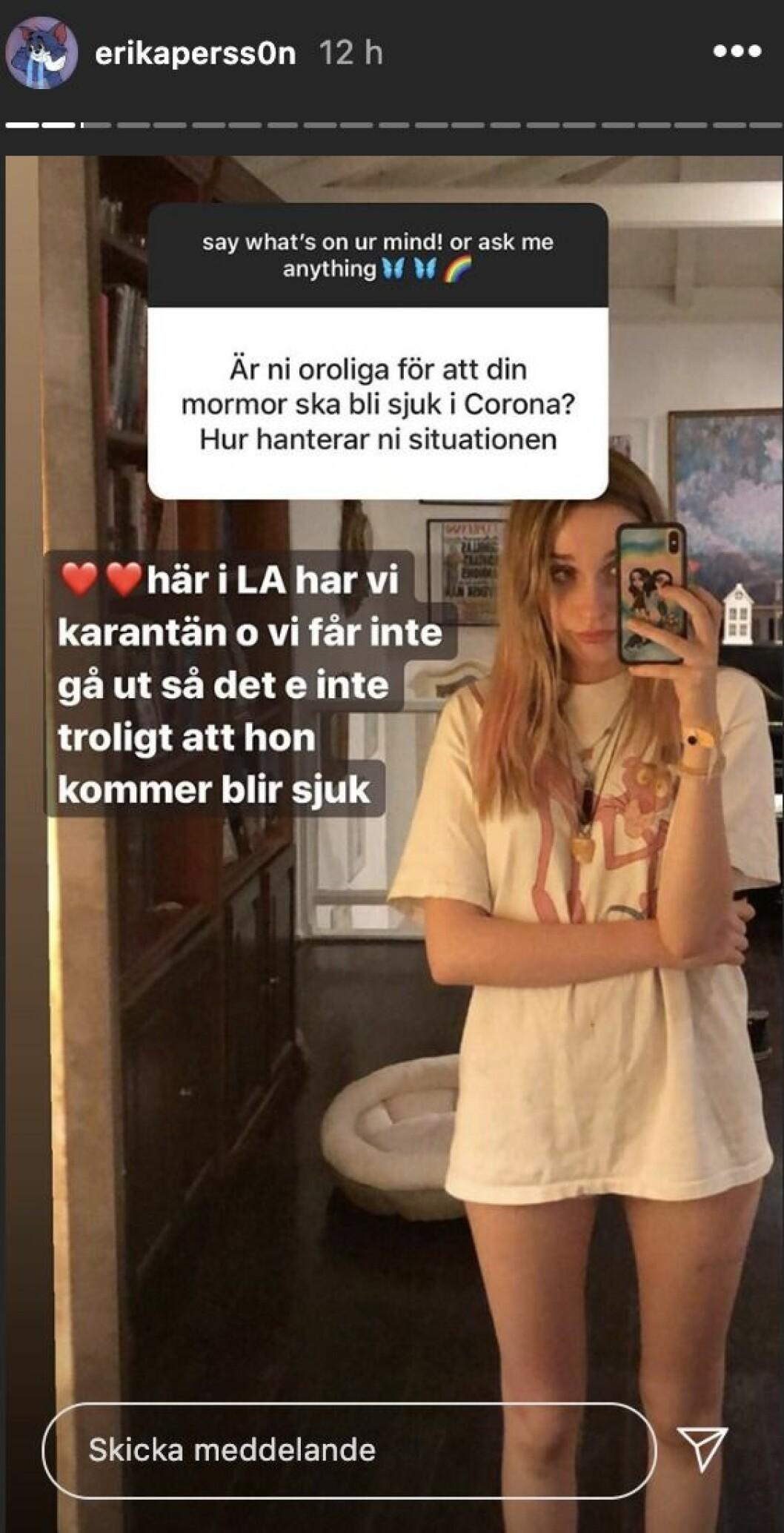 Erika Persson frågestund på Instagram