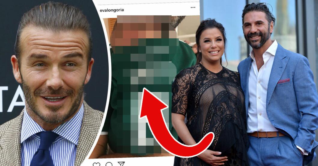 David Beckham gratulerar nyblivna mamman Eva Longoria till sonen Santiago.