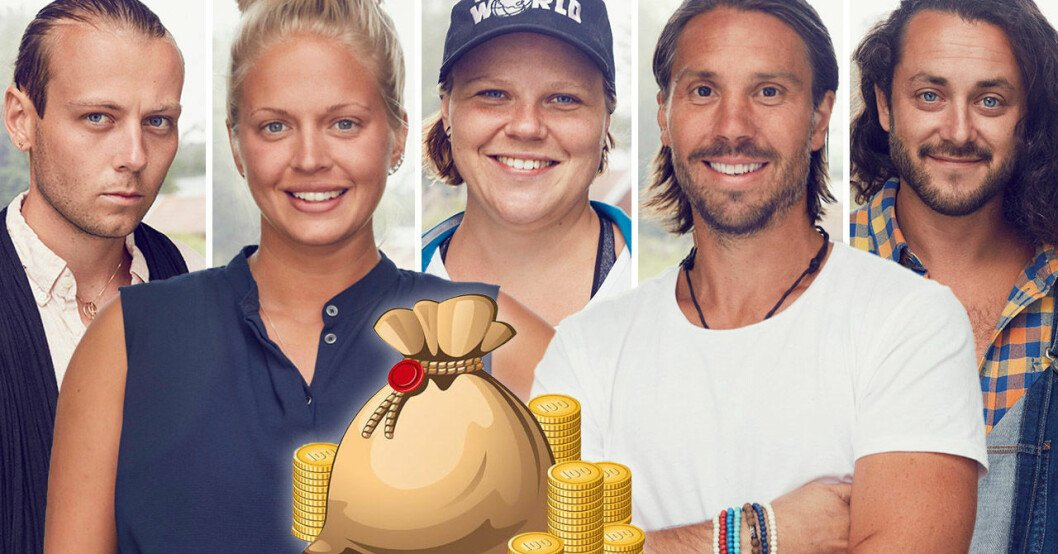 Philip Albinsson, Malin Nyman, Linnea Klaar, Daniel Tholén och Erik Steffen i Farmen 2021.