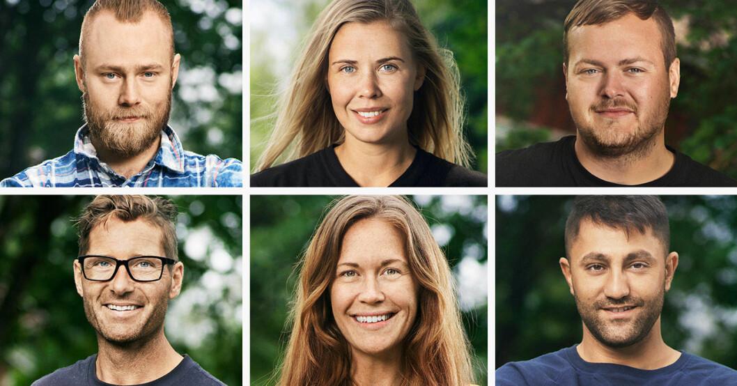 Jens Rönnqvist, Sofie Hodén, Simon Axelsson, Peter Bysell, Johanna Ågren och Mamma Merzi i Farmen 2020.
