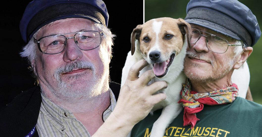 """Gustav """"Gutta"""" Andersson med en hund."""