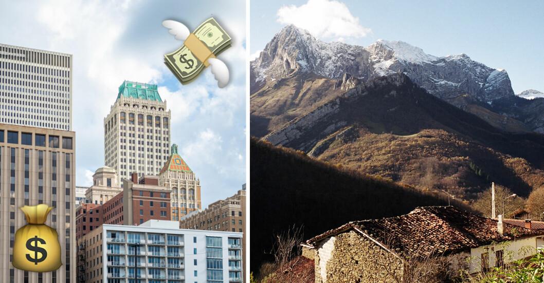 Både Tulsa i Oklahoma och Ponga i Spanien betalar bra för att få människor att flytta dit.