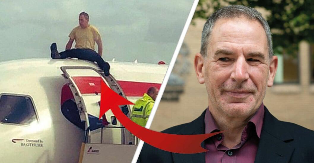 James brown, 56, limmade fast sig på flygplanet.