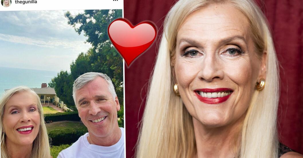 Gunilla Persson visar upp dejten