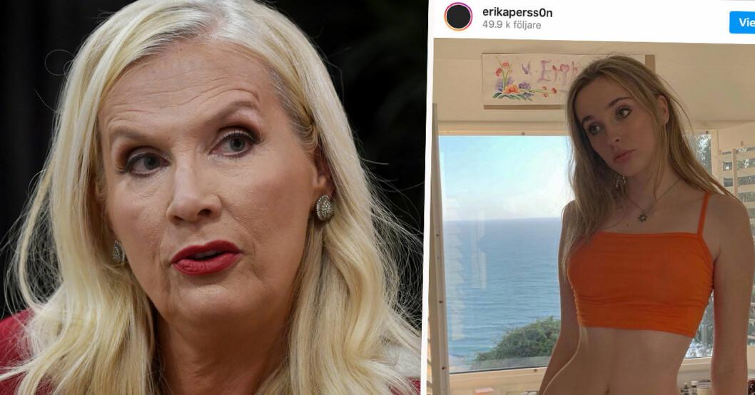Gunilla Persson stöttar dottern Erika