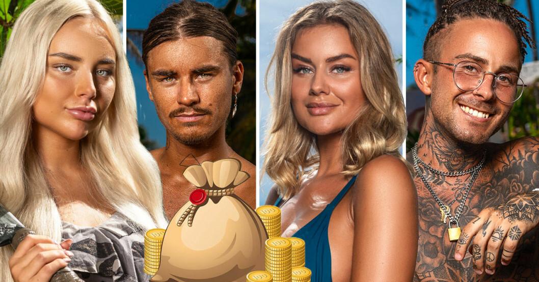 Hanna Bodelson, Malte Grkovic, Carolina Gyllborg och Sebastian Månsson i Paradise hotel 2020.