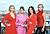Alexandra Rapaport, Julia Dufvenius, Anja Lundqvist och Eva Röse iklädda rött och rosa