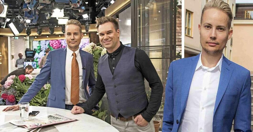 TV4-paret Anders Pihlblad och Henrik Alsterdal ler mot kameran