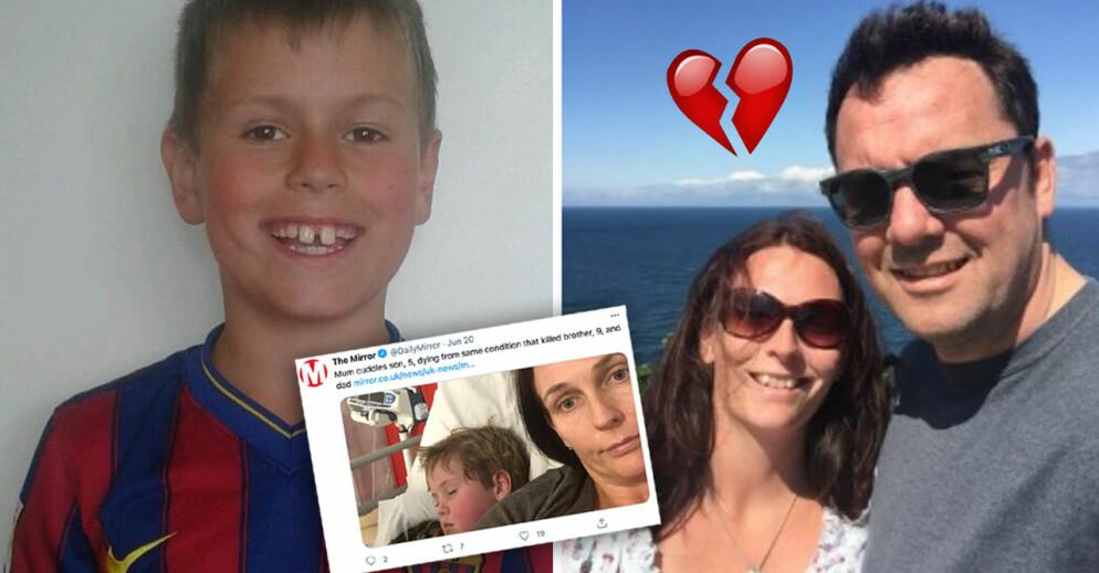 Oscar Hughes, 9, pappa Ian Hughes, 49, och lilla Milo Hughes, 5, har alla drabbats av dödliga hjärntumörer.