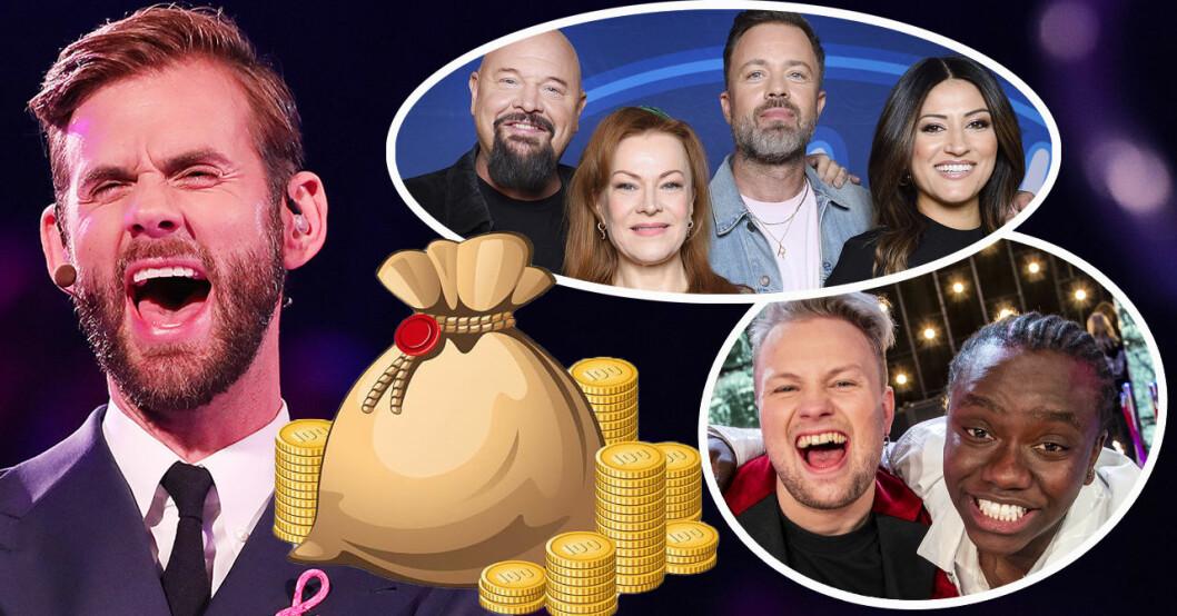 Pär Lernström, Anders Bagge, Kishti Tomita, Alexander Kronlund, Nikki Amini, Freddie Liljegren och Tusse Chiza i Idol 2019.